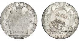 963  -  COLECCIÓN DE RESELLOS. FERNANDO VII. 8 reales. Resello 1824 coronado sobre 8 reales 1822 Lima JP. VI-1057. KM-130 (Perú). Pequeña grieta en rev. R.B.O. MBC+.