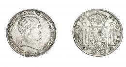 964  -  COLECCIÓN DE RESELLOS. FERNANDO VII. 20 reales. 1822. Madrid, SR. VI-1076. Resello chino en rev. MBC-/MBC.