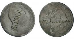 965  -  COLECCIÓN DE RESELLOS. ALFONSO XII. 10 céntimos. 187-- con resello GUINDO en anv. y SOC… en rev. La moneda RC, el resello MBC.