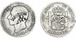 966  -  COLECCIÓN DE RESELLOS. ALFONSO XII. 5 PESETAS 1885 *--. Madrid MSM. Contramarcas en anv. AMNISTIA y estrella de 5 puntas entre J y S. MBC-.