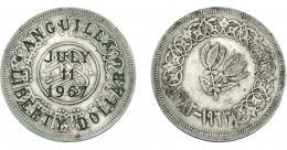 967  -  COLECCIÓN DE RESELLOS. ANGUILA. Resello LIBERTY DOLLAR 1967 sobre 1 rial de Yemen. KM-X4. MBC.