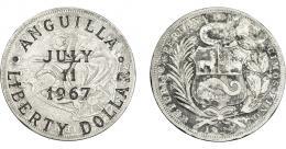 968  -  COLECCIÓN DE RESELLOS. ANGUILA. Resello LIBERTY DOLLAR 1967 sobre 1 sol de Perú 1924. KM-X3. MBc.