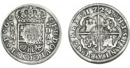 969  -  COLECCIÓN DE RESELLOS. AZORES. 300 reis resello G. P. coronadas sobre 2 reales 1724 Luis I Madrid A. KM-25.1. Gomes-no. Resello tenue. MBC-.