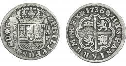970  -  COLECCIÓN DE RESELLOS. AZORES. 300 reis resello G. P. coronadas sobre 2 reales 1736 Sevilla AP. KM-no. Gomes-29.07. Resello tenue. MBC-.