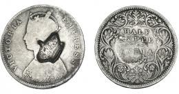 971  -  COLECCIÓN DE RESELLOS. AZORES. 300 reis resello corona sobre 1/2 rupia, India 1887. KM-no. Gomes-no. La moneda BC, el resello MBC.