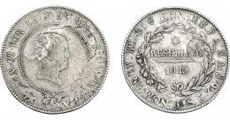 973  -  COLECCIÓN DE RESELLOS. AZORES. 600 reis resello G. P. coronadas sobre 10 reales 1821 Madrid SA. KM-no. Gomes-no. MBc-/MBC.