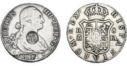 974  -  COLECCIÓN DE RESELLOS. AZORES. 1200 reis resello G. P. coronadas sobre 8 reales 1805 Madrid FA. KM-no. Gomes-31.08. Hoja en anv. MBC.