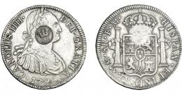 975  -  COLECCIÓN DE RESELLOS. AZORES. 1200 reis resello G. P. coronadas sobre 8 reales 1795 México FM. KM-no. Gomes-31.09. MBC.