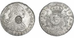976  -  COLECCIÓN DE RESELLOS. AZORES. 1200 reis resello G. P. coronadas sobre 8 reales 1808 Lima JP. KM-no. Gomes-no. MBC+.