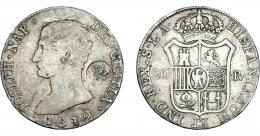 977  -  COLECCIÓN DE RESELLOS. AZORES. 1200 reis resello G. P. coronadas sobre 20 reales 1812 Sevilla LA. KM-29.4. Gomes-31.24. La moneda BC+, el resello MBC.