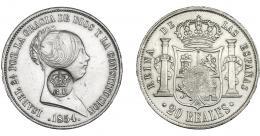 978  -  COLECCIÓN DE RESELLOS. AZORES. 1200 reis resello G. P. coronadas sobre 20 reales 1854 Sevilla. KM-no. Gomes-31.25. MBC+.