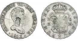 979  -  COLECCIÓN DE RESELLOS. AZORES Y PORTUGAL. 1200 reis y 870 reis resellos G. P. coronadas y escudo de Portugal sobre 20 reales 1813 Madrid IJ. KM-no y 440.37. Gomes-31.12 y no. Rayas en anv. MBC.