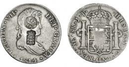 980  -  COLECCIÓN DE RESELLOS. AZORES Y PORTUGAL. 1200 reis y 870 reis resellos G. P. coronadas y escudo de Portugal sobre 8 reales 1814 Lima JP. KM-no y 440.33. Gomes-no y 29.29. MBC-.