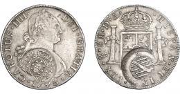 982  -  COLECCIÓN DE RESELLOS. BRASIL. 960 reis resello bifacial sobre 8 reales 1793 Santiago DA. KM-243. Gomes-115.04. Rara. MBC.