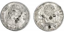 983  -  COLECCIÓN DE RESELLOS. BRASIL. CUIBA.960 reis resello bifacial sobre 8 reales 1796 Potosí PP y resellos chinos. KM-350. Gomes-31.02. MBC. Muy rara.