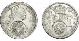 984  -  COLECCIÓN DE RESELLOS. BRASIL. 960 reis resello bifacial sobre 8 reales 1799 Potosí PP. KM-251. Gomes-115.02. La moneda MBC-, los resellos MBC+.