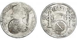 985  -  COLECCIÓN DE RESELLOS. BRASIL. 960 reis resello bifacial sobre 8 reales 1800 Potosí PP. KM-251. Gomes-115.02. Limaduras en canto. La moneda BC+/MBC-. Los resellos MBC+.
