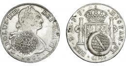986  -  COLECCIÓN DE RESELLOS. BRASIL. 960 reis resello bifacial sobre 8 reales 1801 Potosí PP. KM-251. Gomes-115.02. La moneda MBC, los resellos MBC+.