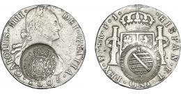 988  -  COLECCIÓN DE RESELLOS. BRASIL. 960 reis resello bifacial sobre 8 reales 1805 Potosí PJ. KM-251. Gomes-115.02. La moneda MBC-, los resellos MBC+.