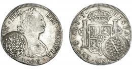 989  -  COLECCIÓN DE RESELLOS. BRASIL. 960 reis resello bifacial sobre 8 reales 1806 Potosí PJ. KM-251. Gomes-115.02. La moneda MBC-, los resellos MBC.