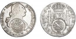 990  -  COLECCIÓN DE RESELLOS. BRASIL. 960 reis resello bifacial sobre 8 reales 1806 Santiago FJ. KM-243. Gomes-115.04. La moneda MBC, los resellos EBC-. Rara.