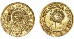 992  -  COLECCIÓN DE RESELLOS. COSTA RICA. Escudo. 1847 CR JB con resello bifacial de la República de Centro América. KM-84. MBC+/MBC.