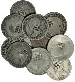 """993  -  COLECCIÓN DE RESELLOS. CUBA. Resello """"rejilla"""" sobre: 2 reales Carlos III (2), 2 reales Carlos IV (3), 2 reales Fernando VII (4), 4 reales José Napoleón (3). Total 12 piezas. BC/MBC-."""
