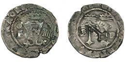 994  -  COLECCIÓN DE RESELLOS. JUANA Y CARLOS. 4 maravedís. S/F. Santo Domingo. F-IIII/S-P. Con resello llave en rev. para circular en Cuba. AC-(Felipe II)-24. MBC.