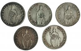 995  -  COLECCIÓN DE RESELLOS. FILIPINAS. 8 reales. Resello Y.II. coronado sobre 8 reales 1833, 1834 (2) y 1835 (2) Lima. KM-138.2. Total 5 piezas. MBC-/MBC.