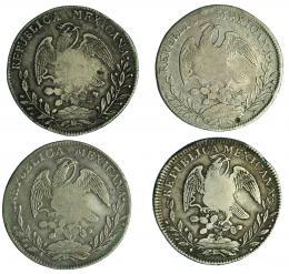 996  -  COLECCIÓN DE RESELLOS. FILIPINAS. 8 reales. Resello Y.II. coronado sobre 8 reales 1830, 1831, 1832 y 1833 Zacatecas. Total 4 piezas. Calidad media MBC.