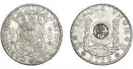 997  -  COLECCIÓN DE RESELLOS. FILIPINAS. 8 reales. Resello F 7º coronado sobre 8 reales 1768 México MF. KM-59. MBC. Rara.