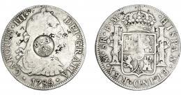998  -  COLECCIÓN DE RESELLOS. FILIPINAS. 8 reales. Resello F 7º coronado sobre 8 reales 1785 México FM. KM-60. Resellos chinos. BC+/MBC-.