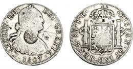 999  -  COLECCIÓN DE RESELLOS. FILIPINAS. 8 reales. Resello F 7º coronado sobre 8 reales 1807 México TH. KM-63. Resellos chinos. Rayas. MBC-.