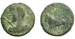 1103  -  HISPANIA ANTIGUA. BORA. Semis. A/ Busto femenino velado y diademado a izq., delante cetro. R/ Toro parado a izq., encima BORA. AE 8,77 g. 25,9 mm. I-291. ACIP-2310. Pátina verdosa. BC+. Rara. Ex Áureo, 17-12-2003, lote 3173.