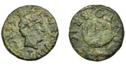 1107  -  HISPANIA ANTIGUA. BRUTOBRIGA. As. A/ Cabeza masculina a der.; T MANLIVS T F SERGIA. R/ Navío, debajo atún; BRVTOBRIGA. AE 14,49 g. 28,2 mm. I-296. ACIP-2482. Pátina verde rugosa. MBC/BC+. Rara.