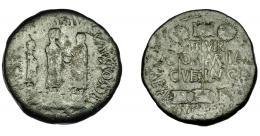 1115  -  HISPANIA ANTIGUA. CAESARAUGUSTA. Augusto. Dupondio. A/ Augusto en traje sacerdotal con símpulo, flanqueado por Cayo y Lucio, los tres sobre pedestales; (IMP) AVG C CAES COS DES- (L) CAES. R/ Vexillum entre dos estandartes, en campo II-VIR/CN D-OM/ AMP-IAN/ C- VET-LAN-CI(A); C CAESAR AVGVSTA (poco visible). AE 20,23 g. 33,5 mm. I-309. APRH-319c. ACIP-3043b. Pátina oscura. BC+. Rara. Ex Áureo, 30-6-1993, lote 125.