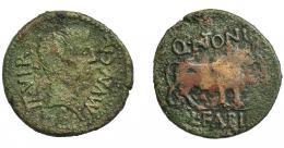 1131  -  HISPANIA ANTIGUA. CALAGURRIS. Augusto. As. A/ Cabeza a der.; MVN CAL, detrás II VIR. R/ Toro a der.; encima Q ANTONI, debajo L FABI. AE 11,35 g. 31,1 mm. I-410. APRH-438. ACIP-3119. Pátina verde irregular. BC+/BC. Compra privada Pliego (1992).