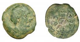 1144  -  HISPANIA ANTIGUA. CARBULA. Unidad o duplo. A/ Cabeza masculina a der., delante signo serpentiforme. R/ Lira, alrededor CARBVLA, todo dentro de láurea. AE 14,26 g. 28,4 mm. I-439 vte. ACIP-2311. Pátina verde. BC+. Rara. Ex Áureo, 21-10-1997, lote 808.