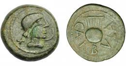 1145  -  HISPANIA ANTIGUA. CARBULA. As. A/ Cabeza femenina con moño a der., delante creciente, detrás X. R/ Lira, alrededor CARBVLA. AE 25,28 g. 33,2 mm. I-440. ACIP-2312. Pátina verde oscuro. MBC.