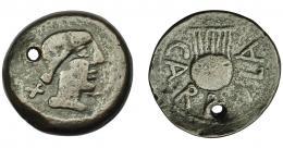1146  -  HISPANIA ANTIGUA. CARBULA. As. A/ Cabeza femenina con moño a der., delante creciente, detrás X. R/ Lira, alrededor CARBVLA. AE 17,44 g. 31 mm. I-440. ACIP-2312. Agujero. MBC-/BC+.
