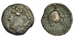 1149  -  HISPANIA ANTIGUA. CARBULA. Lote de 3 plomos monetiformes. A/ Cabeza a der. R/ Lira. I-445. CCP-p. 4. RC.
