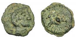 1150  -  HISPANIA ANTIGUA. CARISA. Semis. A/ Cabeza masculina a der. R/ Jinete con rodela a izq.; debajo CARIS(A?). AE 3,63g 18,5 mm. I-452. ACIP-2519. Pátina verde. MBC-. Rara. Compra privada Pliego (1992).