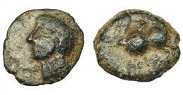 1151  -  HISPANIA ANTIGUA. CARISA. Semis. A/ Cabeza masculina a der. R/ Jinete con rodela a izq.; debajo ley. ilegible. AE 2,04 g 14,5 mm. I-453. ACIP-2521? Pátina oscura. BC+.