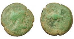 1153  -  HISPANIA ANTIGUA. CARISA. Semis. A/ Cabeza galeada a der. R/ Jinete con rodela a der., ley. ilegible. AE 3,7 g. 18,3 mm. I-no. ACIP-no. Pátina verde claro. BC/RC. Compra privada Pliego (1992).