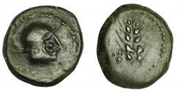 1155  -  HISPANIA ANTIGUA. CARMO. Cuadrante o sexto. A/ Cabeza galeada a der. R/ Espiga, a izq. 3 glóbulos. AE 4,3 g. 16,5 mm. I-472. ACIP-2385. Pátina verde. MBC. Compra privada a Pliego (1993).