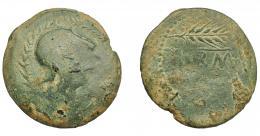 1156  -  HISPANIA ANTIGUA. CARMO. As. A/ Cabeza con casco apuntado a der., alrededor láurea. R/ Dos espigas a der., en medio (CA)RM(O). AE 19,08 g. 37 mm. I-457. ACIP-2386. Pátina verde con concreciones. BC-/BC+. Compra privada Pliego (1997).