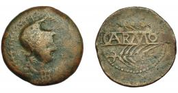 1157  -  HISPANIA ANTIGUA. CARMO. As. A/ Cabeza con casco apuntado a der., alrededor láurea. R/ Dos espigas a der., en medio CARMO. AE 23,8 g. 35,2 mm. I-457. ACIP-2386.  BC-/BC+. Ex Hervera, 15-4-1997.