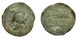 1159  -  HISPANIA ANTIGUA. CARMO. As. A/ Cabeza de Mercurio con pétaso a der. R/ Dos espigas a der., en medio CARMO. AE 16,63 g. 32,4 mm. I-455. ACIP-2389. Pátina verde. BC/BC+. Rara.