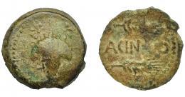 1016  -  HISPANIA ANTIGUA. ACINIPO. As. A/ Racimo de uvas, en la parte superior una estrella a cada lado. R/ Dos espigas a der., en medio ACIN(IP)O. AE 7,34 g. 23,5 mm. I-50. ACIP-2454. Pátina verde claro. BC/MBC-. Rara.