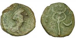1160  -  HISPANIA ANTIGUA. CARMO. Cuadrante o sexto. A/ Cabeza de Mercurio con pétaso a der. R/ Caduceo, a izq. 3 glóbulos, a der. creciente. AE 2,21 g. 15,9 mm. I-473. ACIP-2391. Pátina verde claro. BC+. Muy rara.